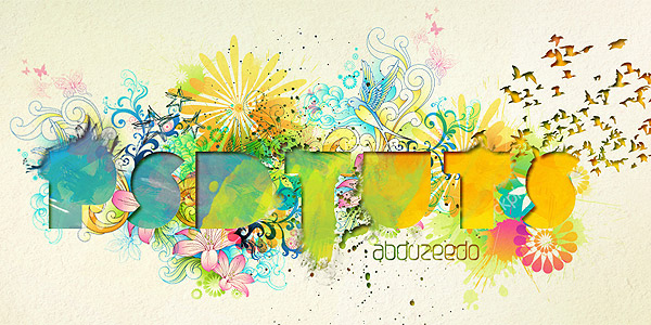 Watercolor text