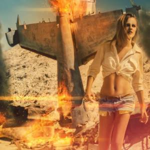 Create an explosive scene using the flame filter in Photoshop