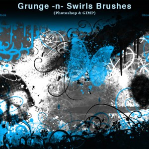Grunge and Swirls Photoshop Brushes