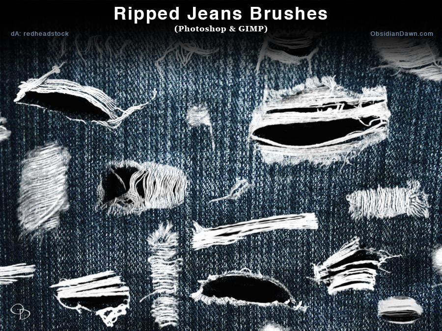 Ripped – Torn Jeans Photoshop and GIMP Brushes