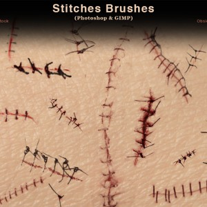 Stitches and Sutures Photoshop Brushes
