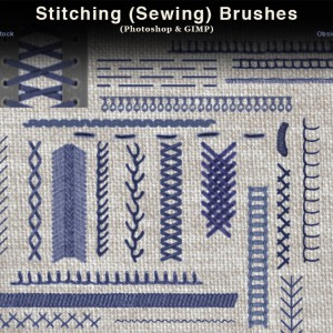 Stitching and Sewing Photoshop Brushes