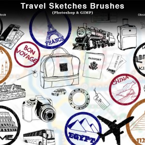 Travel Sketches Photoshop Brushes