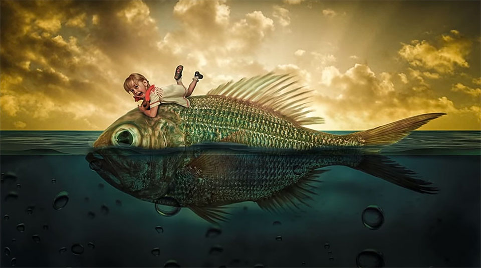 Create A Surreal Photo Manipulation Of A Kid Riding A Fish