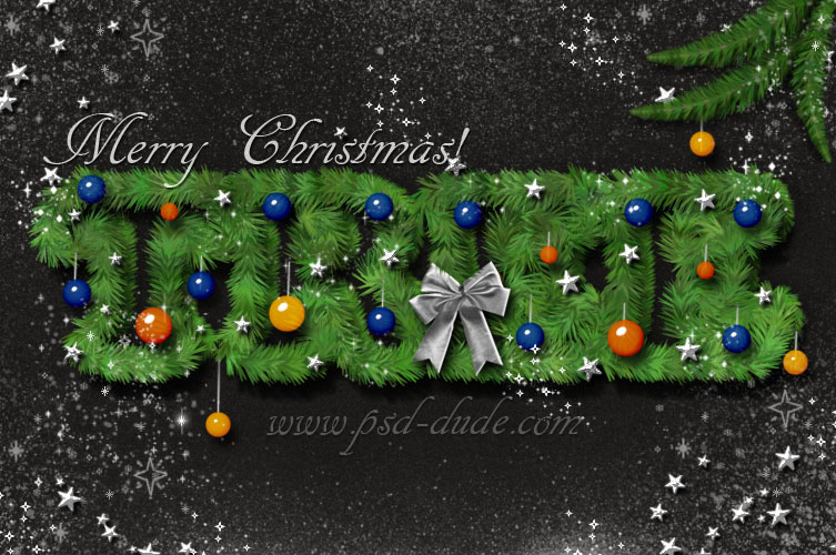 Create a christmas tree photoshop text effect for Photoshop christmas