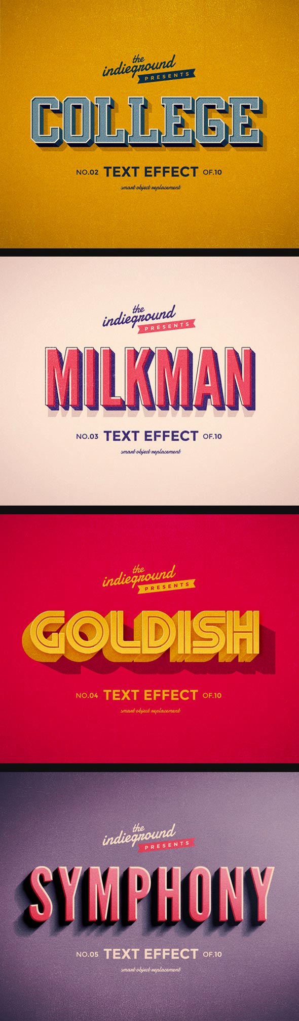 Download Colorful Retro Text Effects Premium Photoshop Styles